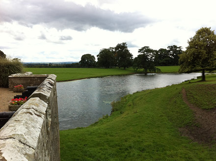 Raby Castle wall and pond