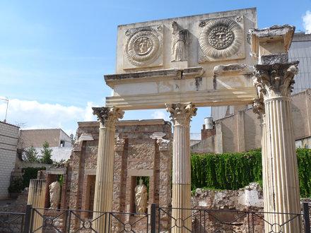 reconstruction of portico of Roman Forum in Merida
