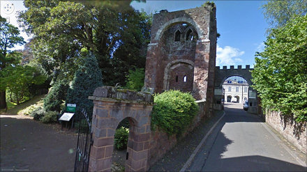 Gate to Rougemont Castle in Exeter where the last witches were tried in 1685