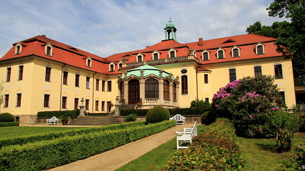 Blick vom Park at the Schloss Proschwitz in Germany - back of family home