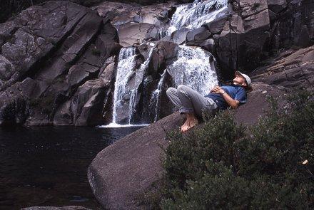 Relaxing at Serpentine Falls, Kosciuszko National Park