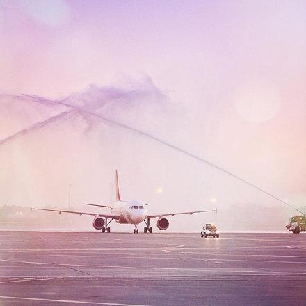 First #airmalta flight to #Sheremetyevo airport // встретили первый рейс с Мальты в #Шереметьево //