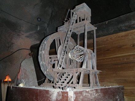 a mockup of the Wasserkunst in the Silberbergwerk mine in Schwaz / Tirol