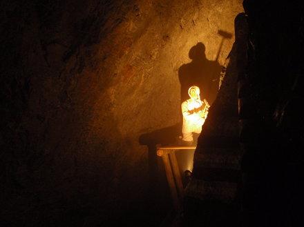 Hans the grumpy worker in the Silberbergwerk mine in Schwaz / Tirol