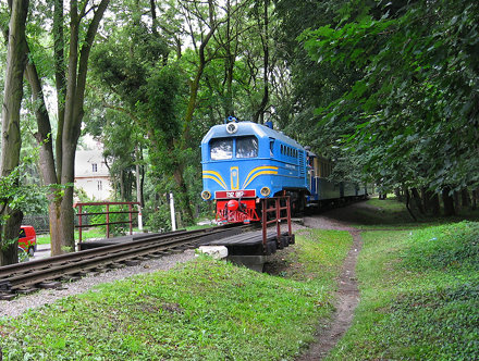 The children's railway in Lvov, Ukraine. The diesel-engine TU2-087.