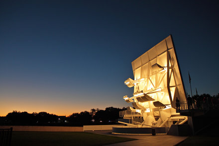 Space Mirror Memorial at dusk