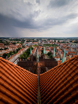 Old Town Gdańsk from atop Bazylika Mariacka