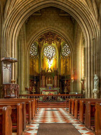 A rare view of the interior of  St. Michael's Abbey in Farnborough