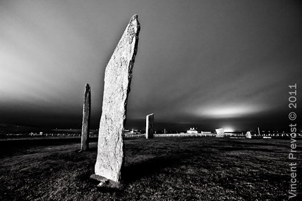 Black and White nightshot of the Standing Stones of Stenness