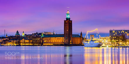 Stockholm City Hall in blue hour