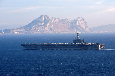 USS Harry S. Truman (CVN 75) conducts a strait transit.