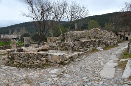 The ruins of Stratonicea among the buildings of the old village of Eskihisar, Stratonicea, Caria, Tu