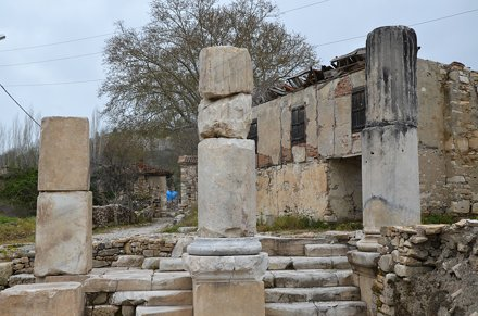 The remains of the Propylaea, a monumental gateway, Stratonicea Caria, Turkey