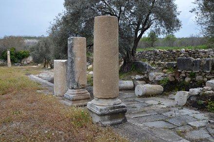 The ruins of the Stoa at the edge of the Agora, Stratonicea, Caria, Turkey