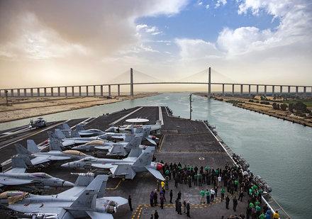USS George H.W. Bush transits the Suez Canal.