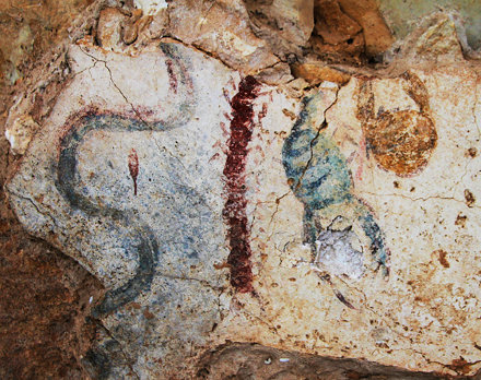 Mar 12 - Snake, centipede, scorpion and crab on the only fresco on the grounds of the Temple of Eshm