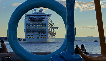 'Spalt' by Franz West + Emerald Princess leaving port