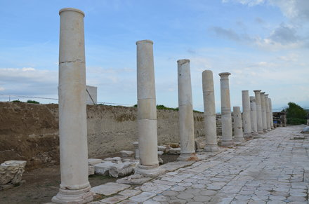The portico of the Late Roman Agora paved with opus sectile made from onyx marble, Tripolis on the M