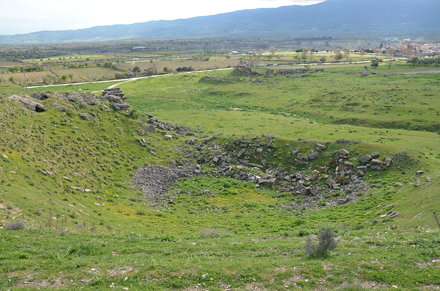 The theatre built on the natural hill with a slope of 50 degrees, it had a capacity of 8,000, Tripol