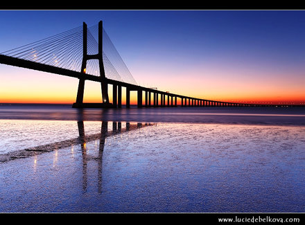 Portugal - Lisbon - Lisboa - Sunrise over Bridge - Ponte Vasco da Gama at Rio Tejo