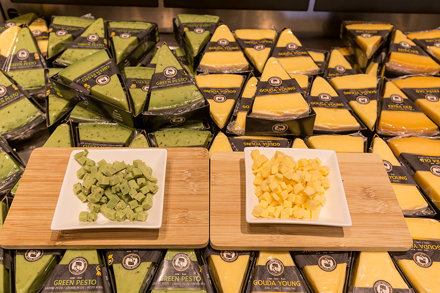 Organic, extravagant dutch cheese with green pesto and young gouda by Henri Willig