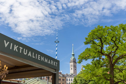 Decorated maypole and traditional square mast at Viktualienmarkt in Munich, Germany, with St. Peter&