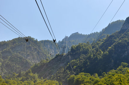 Looking back up the Vogel cable car