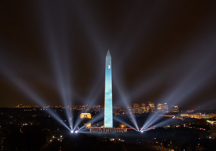 Apollo 11 Saturn V Rocket Projected On The Washington Monument (NHQ201907190156)