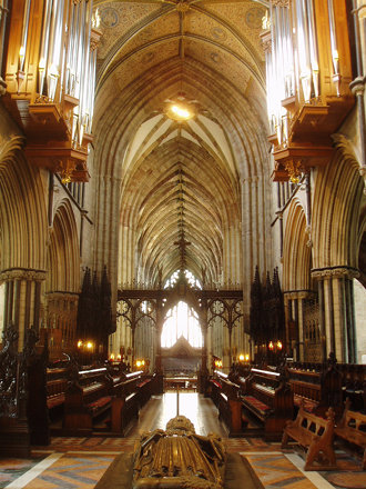 Interior looking West, Worcester Cathedral