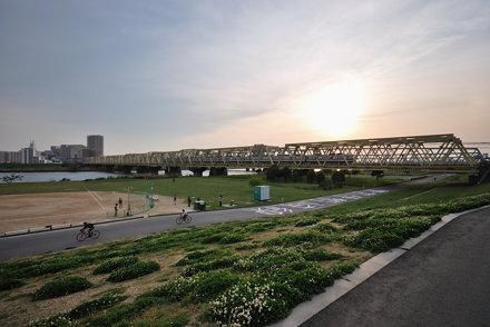 Tobu Isezaki Line Train Going across the Arakawa River under Setting Sun