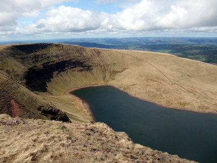 Looking down into Llyn y Fan Fach from Bannau Sir Gaer