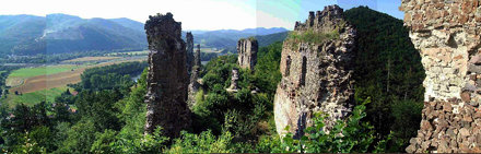 Panorama of the medieval Castle Revistye/Hrad Revište and the River Garam/Hron